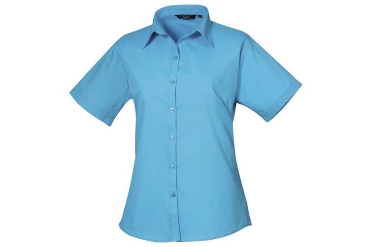 Premier Short Sleeve Poplin Blouse / Plain Work Shirt (Turquoise) (12)