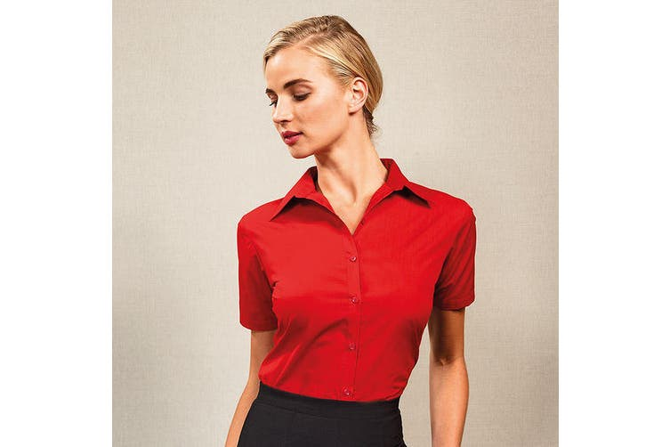 Premier Short Sleeve Poplin Blouse / Plain Work Shirt (Silver) (8)