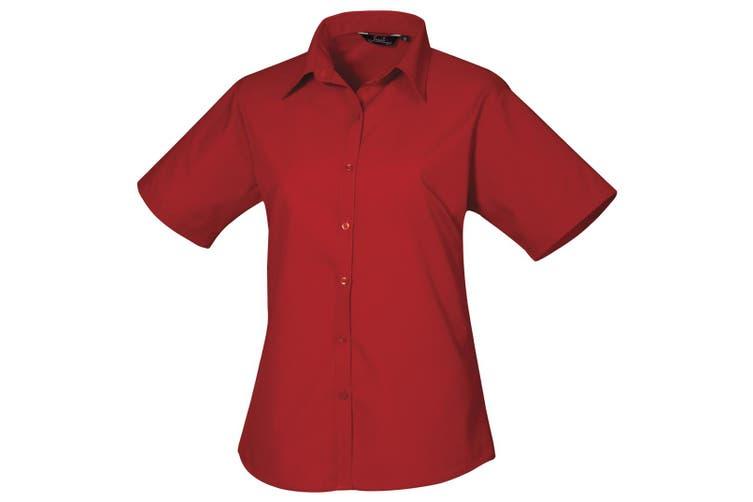 Premier Short Sleeve Poplin Blouse / Plain Work Shirt (Red) (16)