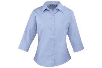 Premier 3/4 Sleeve Poplin Blouse / Plain Work Shirt (Mid Blue) (26)