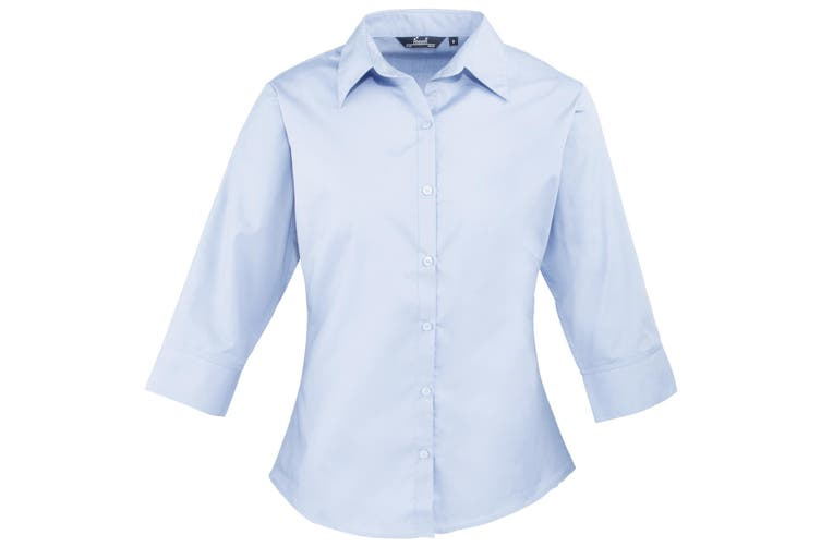 Premier 3/4 Sleeve Poplin Blouse / Plain Work Shirt (Light Blue) (12)