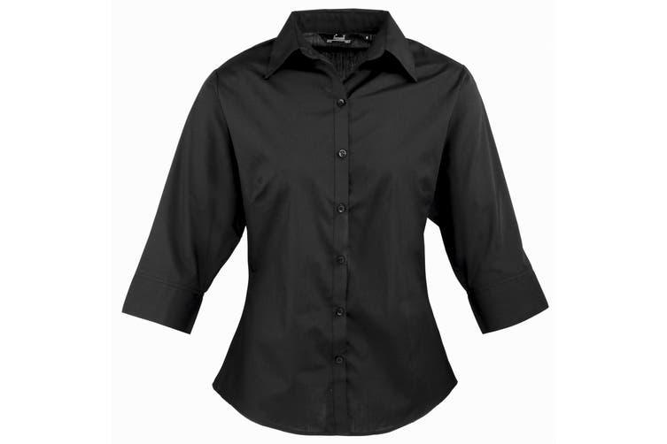 Premier 3/4 Sleeve Poplin Blouse / Plain Work Shirt (Black) (18)