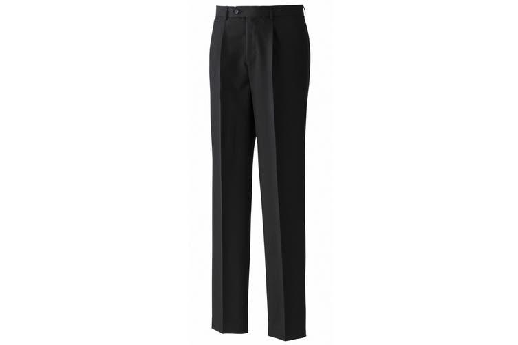 Premier Mens Polyester Trousers (Single Pleat) / Workwear (Black) (32 x Long)