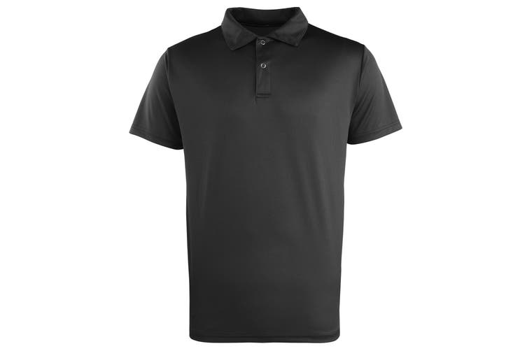 Premier Unisex Coolchecker Studded Plain Polo Shirt (Black) (M)