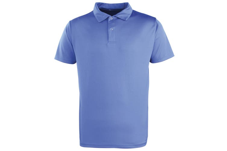 Premier Unisex Coolchecker Studded Plain Polo Shirt (Silver Grey) (S)