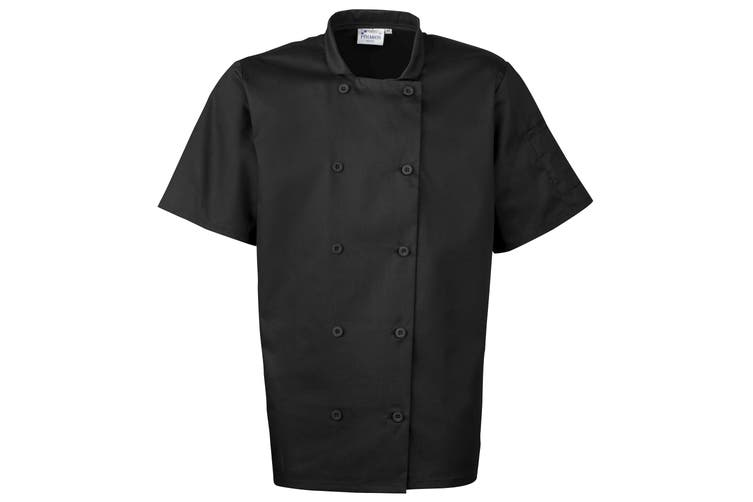 Premier Unisex Short Sleeved Chefs Jacket / Workwear (Black) (XL)