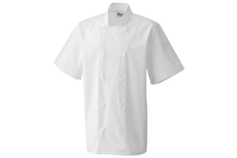 Premier Unisex Short Sleeved Chefs Jacket / Workwear (White) (XL)