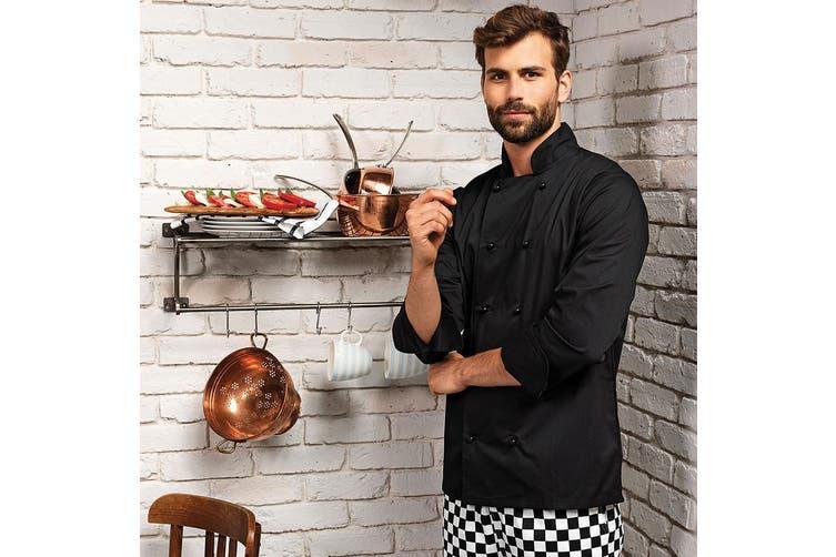 Premier Unisex Cuisine Long Sleeve Chefs Jacket (Black) (S)