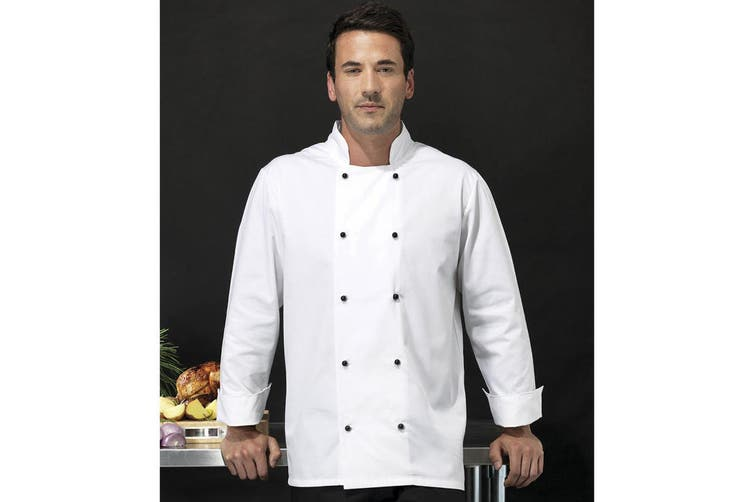 Premier Unisex Cuisine Long Sleeve Chefs Jacket (White) (4XL)
