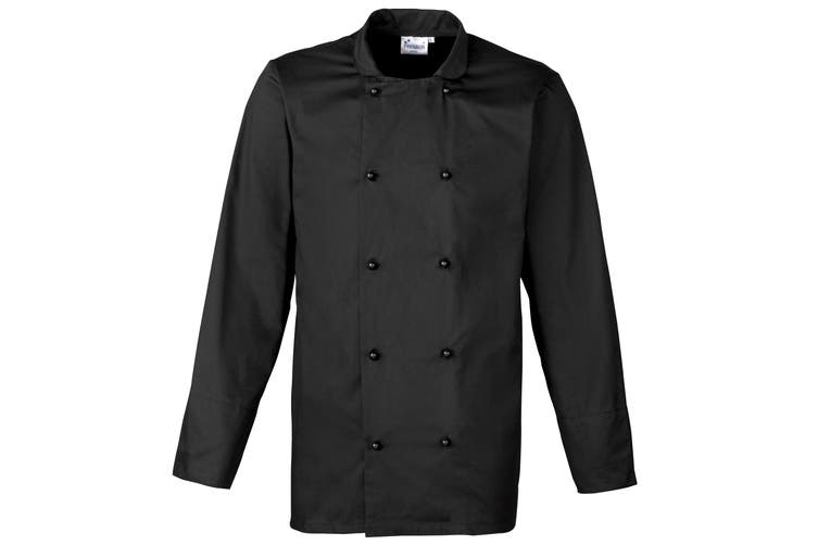 Premier Unisex Cuisine Long Sleeve Chefs Jacket (Black) (XS)