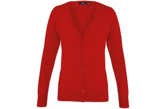 Premier Womens/Ladies Button Through Long Sleeve V-neck Knitted Cardigan (Red) - UTRW1133