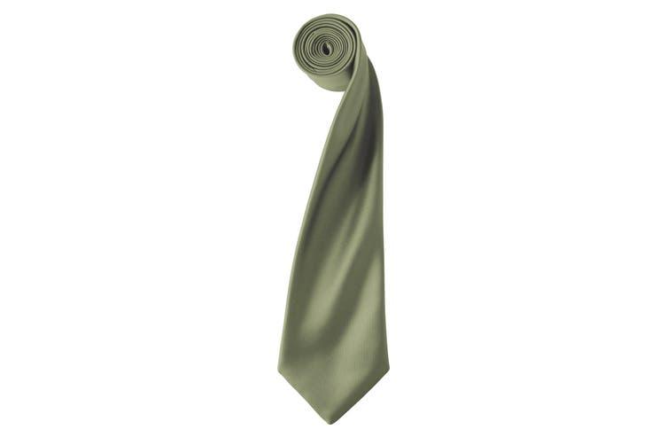 Premier Mens Plain Satin Tie (Narrow Blade) (Olive) (One Size)