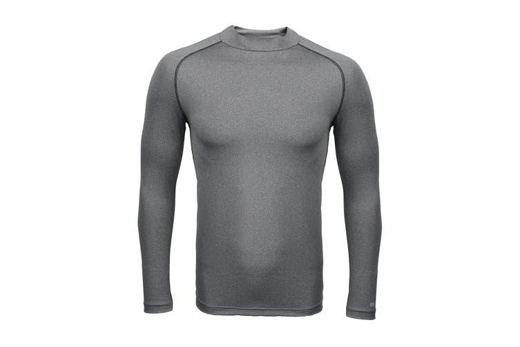 Rhino Mens Thermal Underwear Long Sleeve Base Layer Vest Top (Heather Grey) (2XL)