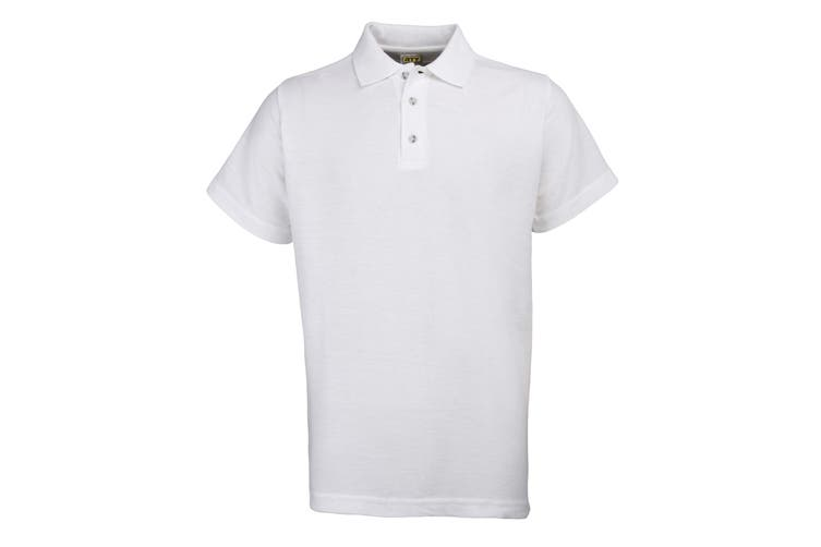 RTY Workwear Mens Pique Knit Heavyweight Polo Shirt (S-10XL) / Extra Large Sizes (White) (2XL)
