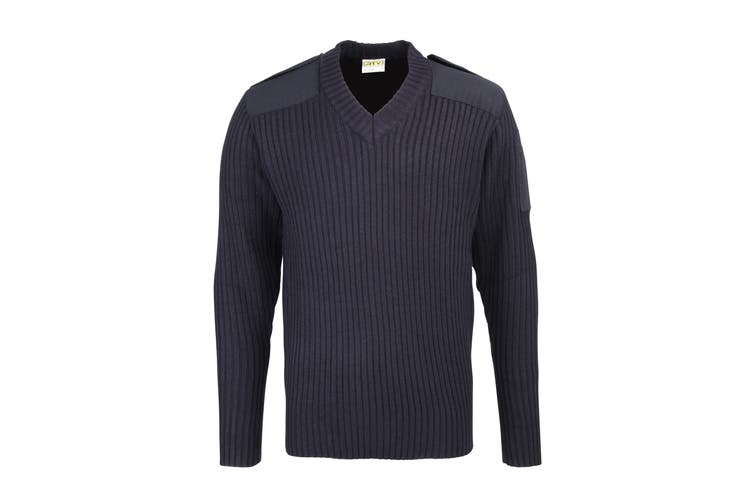 RTY Workwear Mens Security Style V-Neck Sweater (Navy) (3XL)