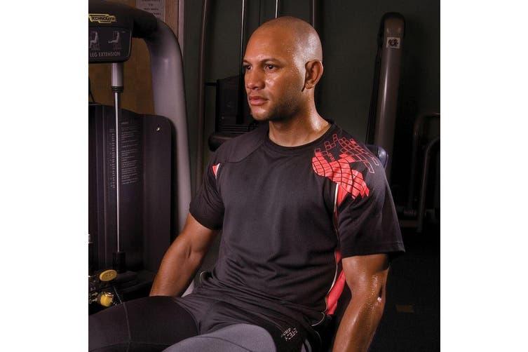 Spiro Mens Performance Sports Lightweight Athletic Training T-Shirt (Black/Red) (L)