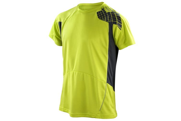 Spiro Mens Performance Sports Lightweight Athletic Training T-Shirt (Neon Lime/Grey) (L)