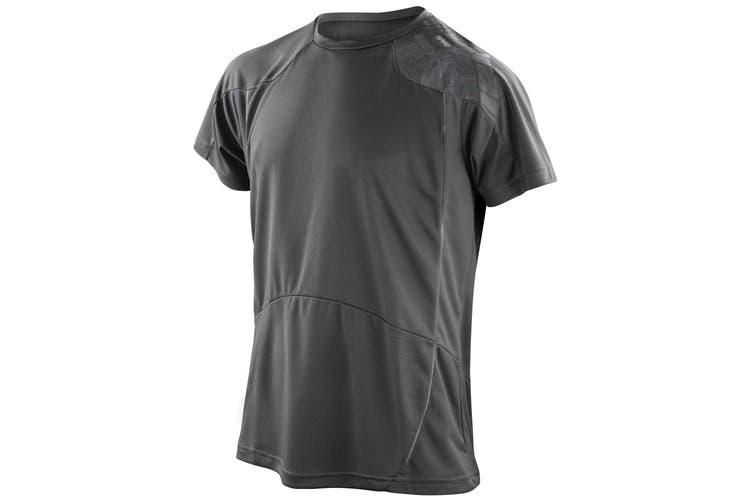 Spiro Mens Performance Sports Lightweight Athletic Training T-Shirt (Black/Grey) (2XL)