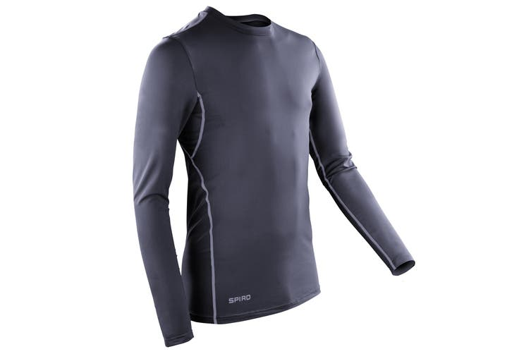 Spiro Mens Sports Compression Bodyfit Long Sleeve Base Layer Top (Navy / White) (2XL)