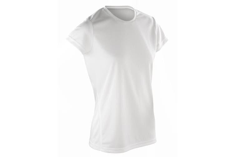 Spiro Womens/Ladies Sports Quick-Dry Short Sleeve Performance T-Shirt (White) (XS)