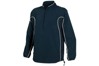 Tombo Teamsport Mens Half Zip Unlined Sports Training Top (Navy/Navy/White Piping) (L)