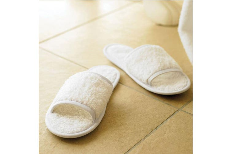 Towel City Classic Unisex Terry Slippers (Open Toe) (White) (4-7)
