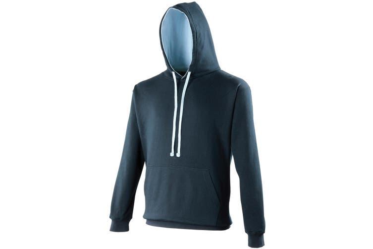 Awdis Varsity Hooded Sweatshirt / Hoodie (New French Navy/Sky Blue) (S)