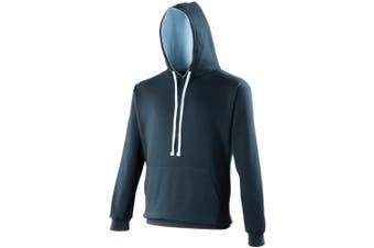 Awdis Varsity Hooded Sweatshirt / Hoodie (New French Navy/Sky Blue) (L)