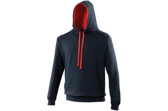 Awdis Varsity Hooded Sweatshirt / Hoodie (New French Navy/Fire Red) (L)