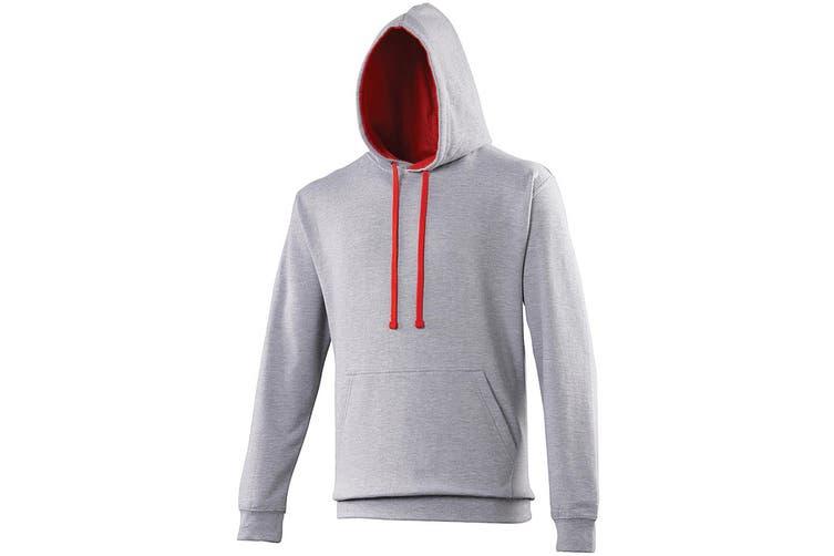 Awdis Varsity Hooded Sweatshirt / Hoodie (Heather Grey / Fire Red) (S)