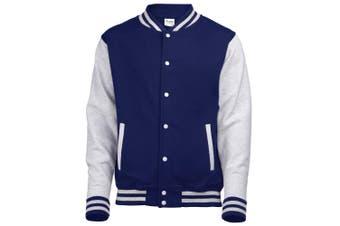 Awdis Unisex Varsity Jacket (Oxford Navy / Heather Grey) (XS)