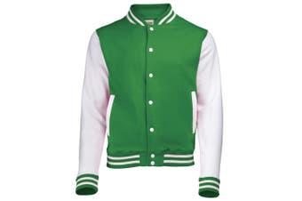 Awdis Unisex Varsity Jacket (Kelly Green / White) (XXL)