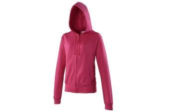 Awdis Girlie Womens/Ladies Hooded Sweatshirt / Hoodie / Zoodie (Hot Pink) (L)