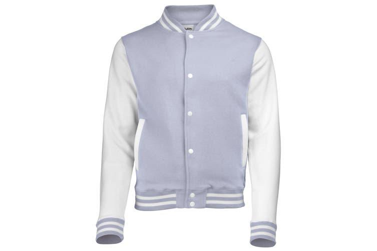 Awdis Kids Unisex Varsity Jacket / Schoolwear (Heather Grey/White) (9-11)