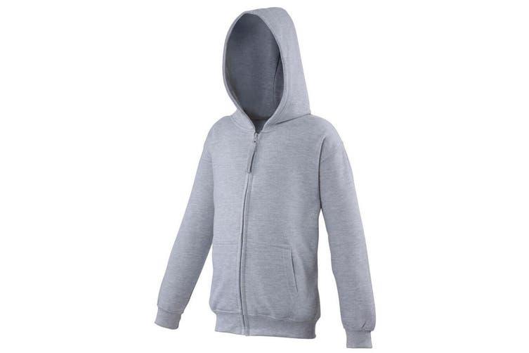 Awdis Kids Unisex Hooded Sweatshirt / Hoodie / Zoodie (Heather Grey) (7-8)