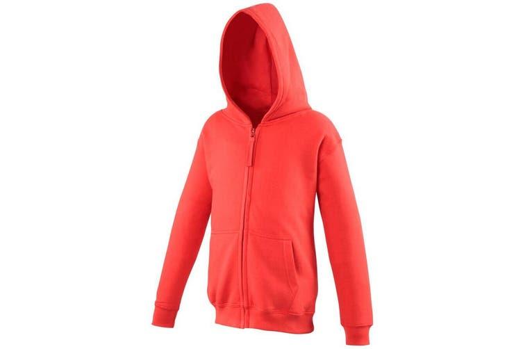 Awdis Kids Unisex Hooded Sweatshirt / Hoodie / Zoodie (Fire Red) (5-6)