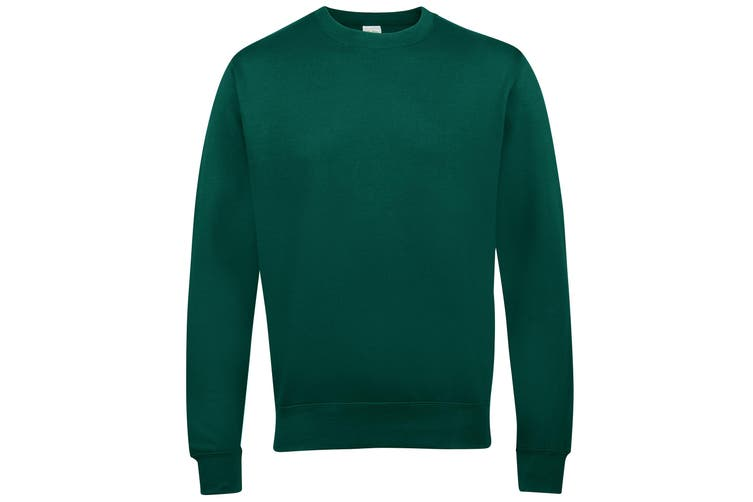 AWDis Just Hoods AWDis Unisex Crew Neck Plain Sweatshirt (280 GSM) (Bottle Green) (XXL)