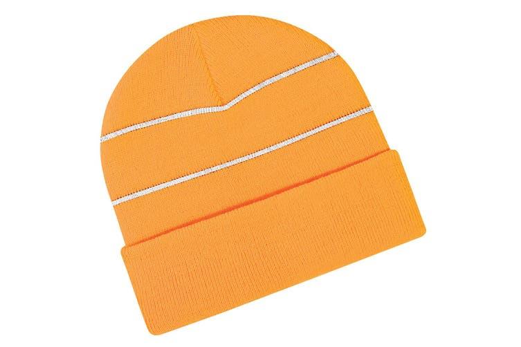 Beechfield Enhanced-viz Hi-Vis Knitted Winter Hat (Orange (Fluorescent)) (One Size)
