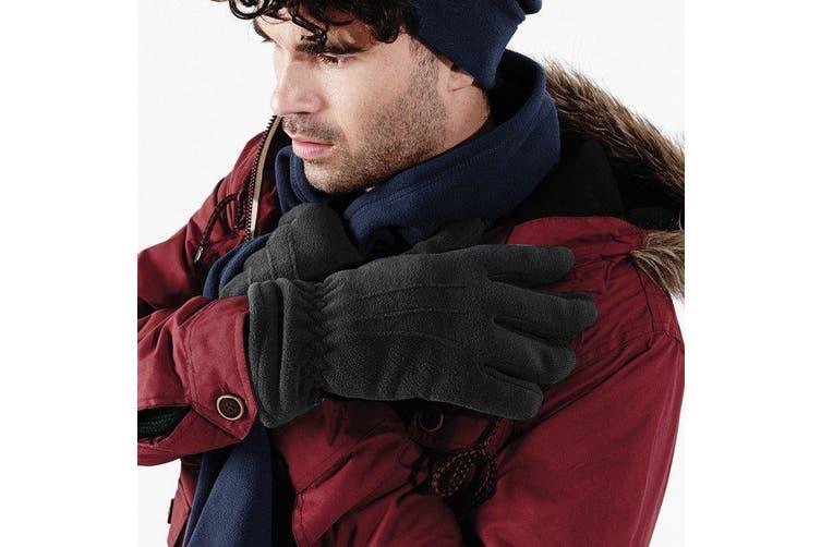 Beechfield Unisex Suprafleece Anti-Pilling Thinsulate Thermal Winter Gloves (Black) (S/M)