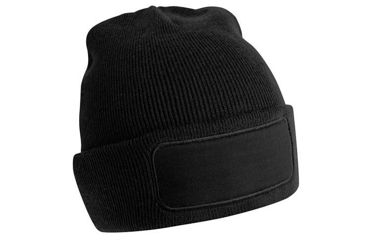 Beechfield Unisex Plain Winter Beanie Hat / Headwear (Ideal for Printing) (Black) (One Size)