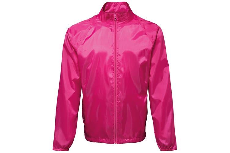 2786 Unisex Lightweight Plain Wind & Shower Resistant Jacket (Hot Pink) (2XL)