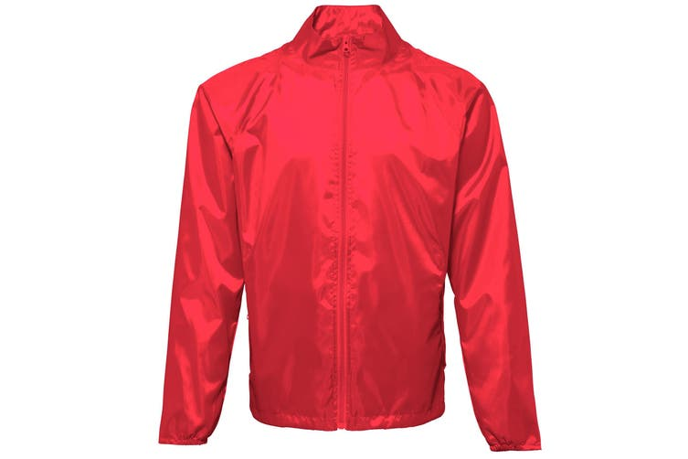 2786 Unisex Lightweight Plain Wind & Shower Resistant Jacket (Red) (L)