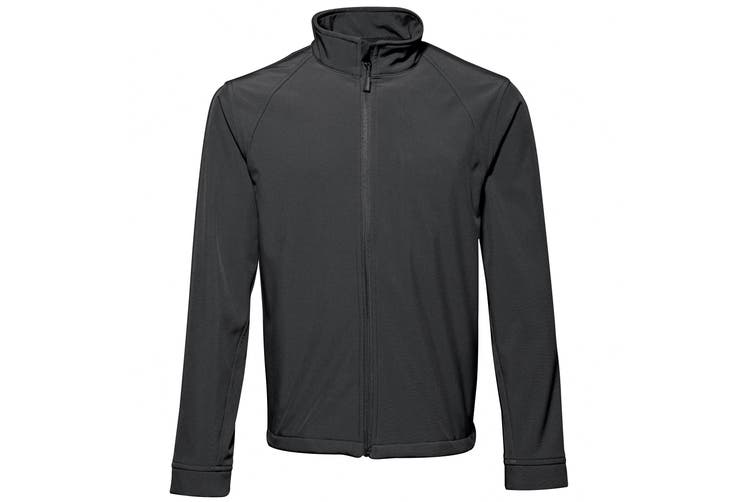 2786 Mens 3 Layer Softshell Performance Jacket (Windproof & Water Resistant) (Black) (3XL)