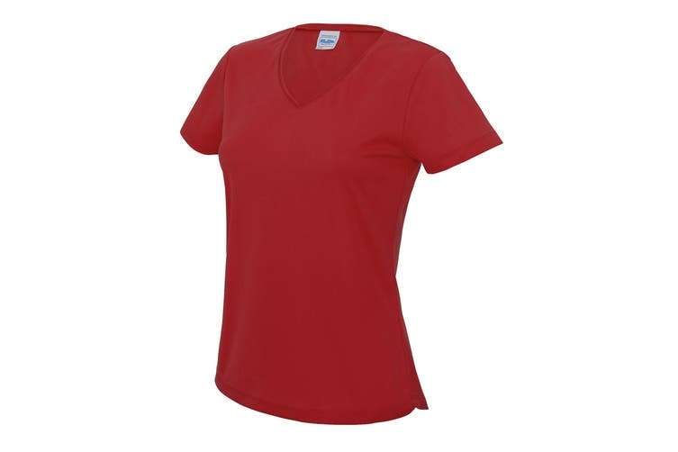 AWDis Cool V Neck Girlie Cool Short Sleeve T-Shirt (Fire Red) (XL)