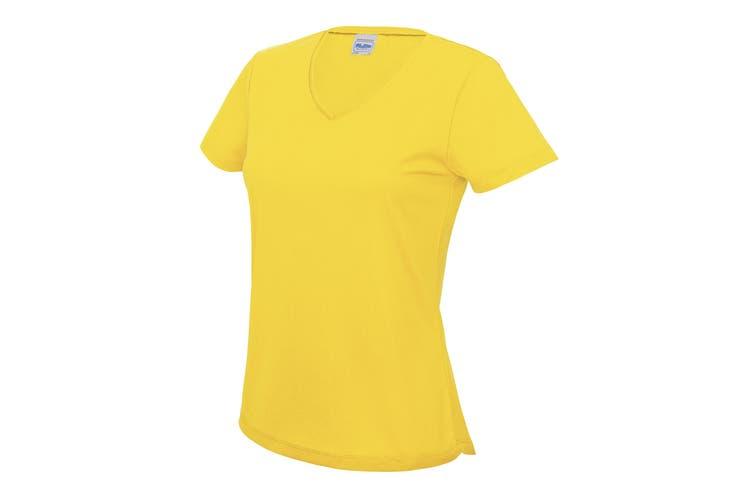 AWDis Cool V Neck Girlie Cool Short Sleeve T-Shirt (Sun Yellow) (XS)