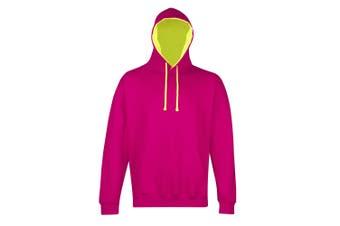 AWDis Hoods Mens Superbright Hooded Sweatshirt / Hoodie (280 GSM) (Hot Pink/ Electric Yellow) (XL)