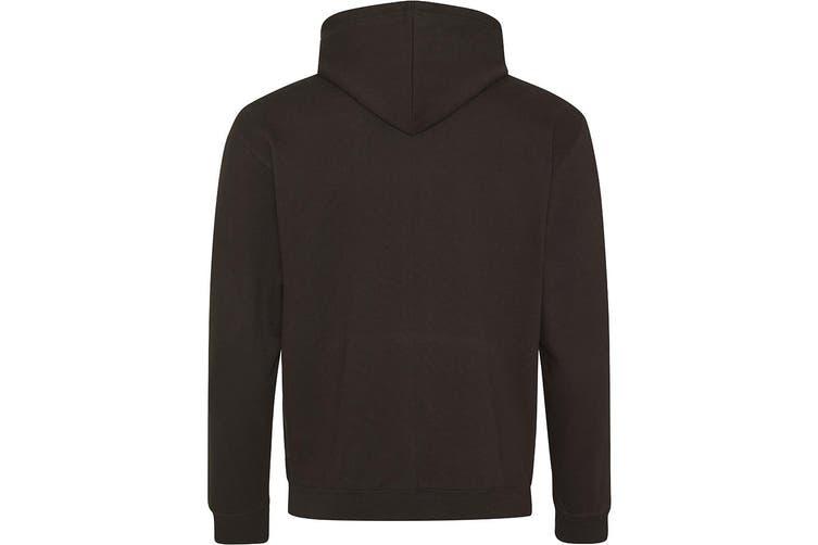 AWDis Hoods Mens Superbright Hooded Sweatshirt / Hoodie (280 GSM) (Jet Black/ Electric Green) (2XL)
