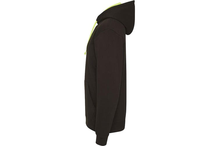 AWDis Hoods Mens Superbright Hooded Sweatshirt / Hoodie (280 GSM) (Jet Black/ Electric Green) (L)