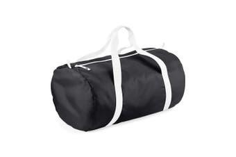 BagBase Packaway Barrel Bag / Duffle Water Resistant Travel Bag (32 Litres) (Black / White) (One Size)