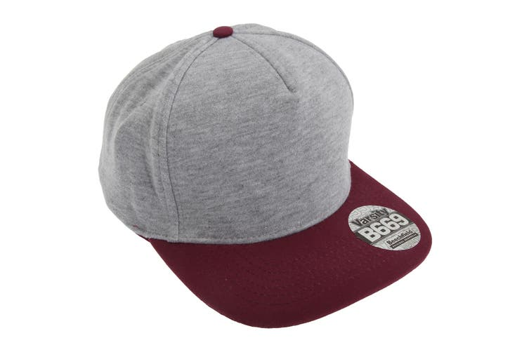 Beechfield Varsity Snapback Cap (Heather Grey/ Burgundy) (One Size)